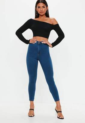 Missguided Petite Mid Blue Superstretch Skinny Jeans