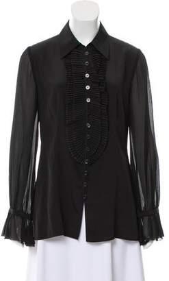 Armani Collezioni Pleated Silk Blouse w/ Tags