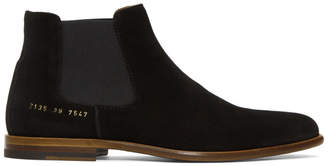 Robert Geller Black Common Projects Edition Suede Chelsea Boots