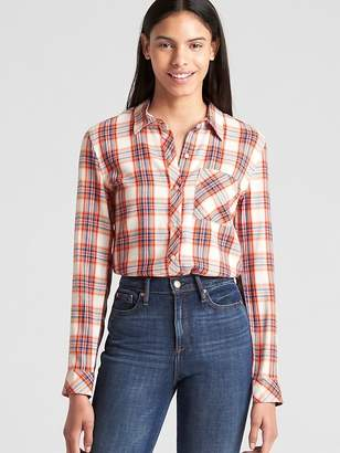 Gap Drapey Plaid Flannel Shirt