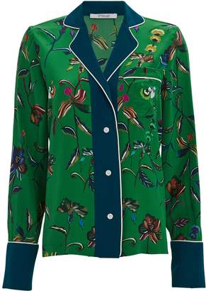 Derek Lam 10 Crosby Silk Floral Button Down Pajama Top