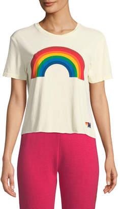 Aviator Nation Rainbow Cropped Boyfriend Tee