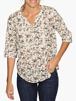 Fat Face Jolene Oriental Birds Cotton Popover, Ivory