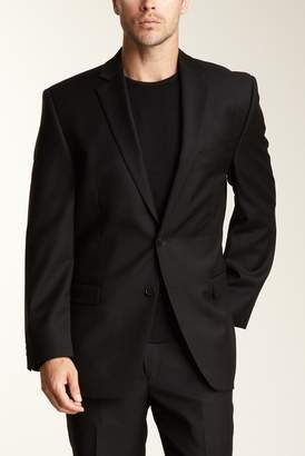 Calvin Klein Slim Fit Black Solid Two Button Wool Jacket