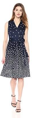 Anne Klein Women's Cotton Notch-Collar Wrap-Front Self-Belted Dress Full Skirt