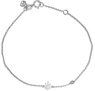 Shy by Sydney Evan Women's White Rhodium Plated Sterling Silver Diamond Bezel Pot Leaf Bracelet of Length 17.145 cm