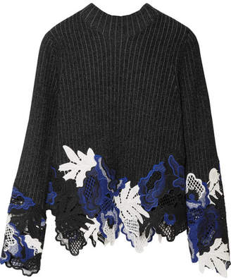 3.1 Phillip Lim Appliquéd Ribbed Wool-blend Sweater - Black