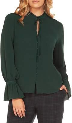 Dex Long-Sleeve Button-Down Jacquard Blouse