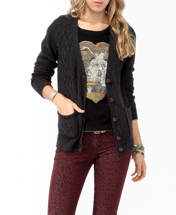 FOREVER 21 Cable Knit Cardigan