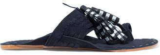 Figue Scaramouche Tasseled Leather And Suede Sandals - Navy