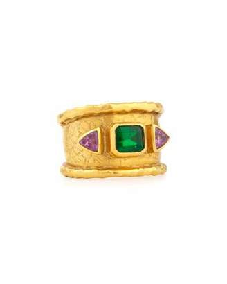 Jean Mahie 22K Emerald & Pink Sapphire Ring, Size 8