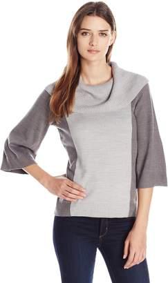 Knits by Hampshire Women's Marilyn Neck Kimono Sleeve Colorblock Sweater