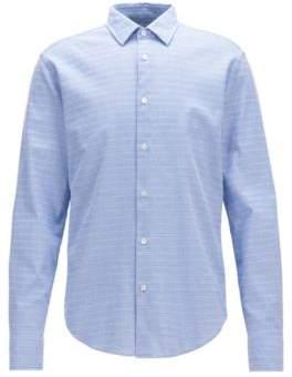 BOSS Hugo Striped Cotton Sport Shirt, Slim Fit T-Riccardo F M Dark Blue