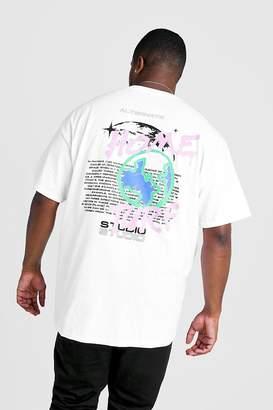 boohoo Big & Tall Home Turf Grafitti Print T-Shirt