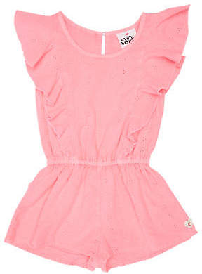 Lulu New Eves Sister Girls Tots Girls Playsuit Cotton Neon Pink