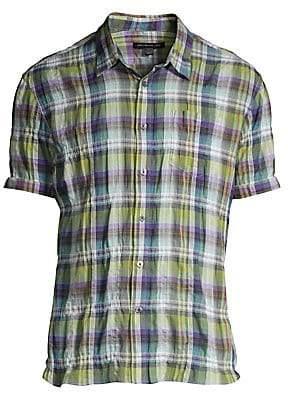 John Varvatos Men's Clyde Short-Sleeve Plaid Sport Shirt