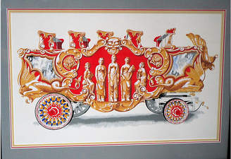 One Kings Lane Vintage French Framed Circus Wagon Print - AntiqueLifestyle Art