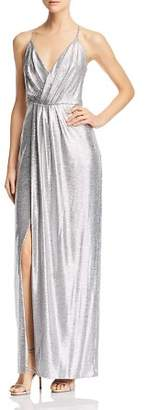 Laundry by Shelli Segal Metallic Draped Gown