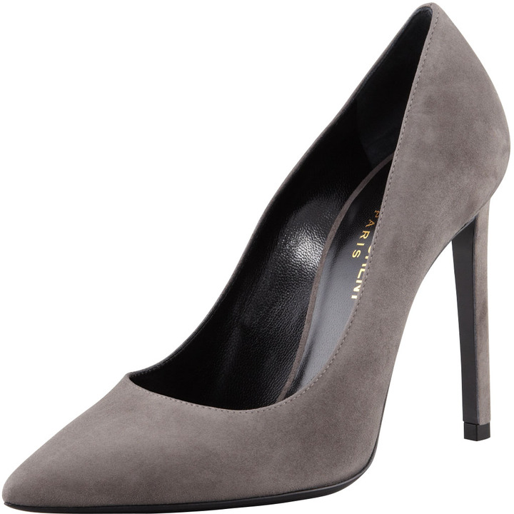 Saint Laurent Paris Suede Pointed-Toe Pump
