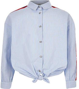 River Island Girls Blue stripe tie front tape shirt