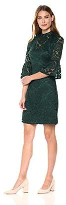 Lark & Ro Women's Short Lace Dress with Mock Neck and Bell Sleeve