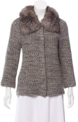 Allude Fur-Trimmed Cashmere Cardigan