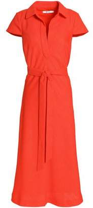 Badgley Mischka Belted Woven Midi Dress