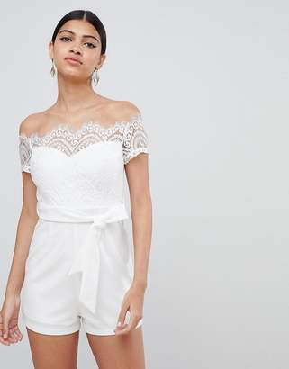 Bardot Love Triangle lace top romper with tie waist