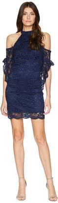 Laundry by Shelli Segal Mock Neck Cold Shoulder Lace Dress with Flutter Women's Dress