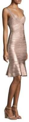 Herve Leger Metallic Knit Cocktail Dress
