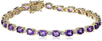 18k Yellow Gold Plated Sterling Silver Genuine Sky Topaz and Diamond Accent Tennis Bracelet