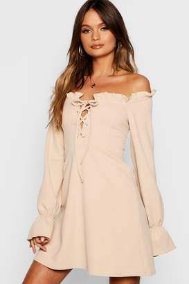 boohoo Flared Sleeve Lace Up Bodice Shift Dress