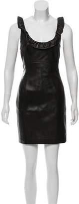 L'Agence Leather Mini Dress w/ Tags Black Leather Mini Dress w/ Tags