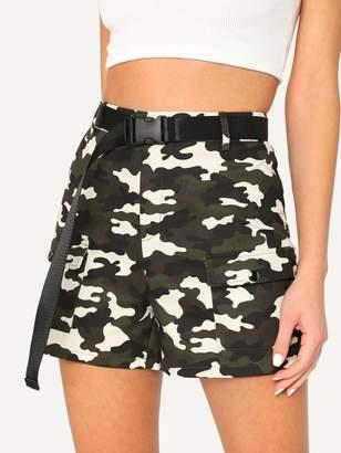 Shein Flap Pocket Camo Shorts With Push Buckle Belt