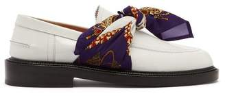 Maison Margiela Scarf Tied Patent Leather Loafers - Womens - Purple White