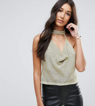 Asos Tall TALL Top with Cowl Neck in Chain Mail