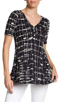 24/7 Comfort Patterned Button Front Tunic (Plus Size Available)