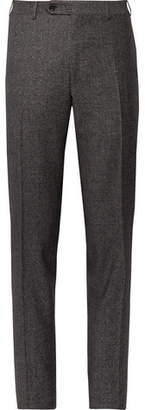 Canali Dark-Grey Slim-Fit Donegal Wool And Silk-Blend Trousers