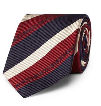 Gucci 7cm Striped Logo-Jacquard Silk Tie - Men - Multi