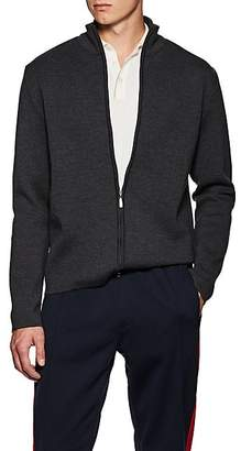 Barneys New York Men's Compact Fine-Gauge Knit Wool Zip-Front Sweater - Charcoal