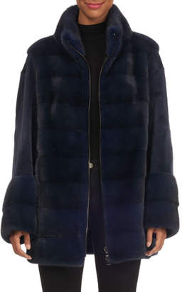 Gianfranco Ferre Sheared Sleeve Zip-Front Mink Jacket