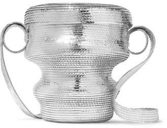 Rosie Assoulin Jug Metallic Faux Straw Shoulder Bag - Silver