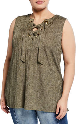 MICHAEL Michael Kors Size Sleeveless Lace-Up Tunic