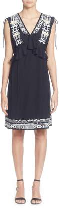 Catherine Malandrino Fadilia Embroidery Cotton Blend Dress
