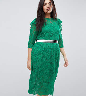 Asos Midi Lace Tea Dress With Sports Tipping