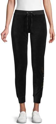 Juicy Couture Metallic Logo Velour Jogging Pants