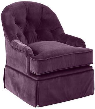 One Kings Lane Marlowe Swivel Club Chair - Fig Velvet