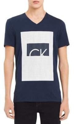 Calvin Klein Square Grid Logo Cotton Tee