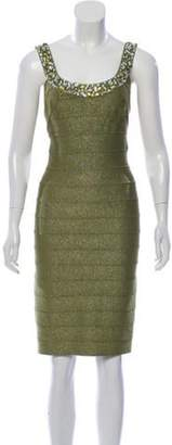 Carmen Marc Valvo Embellished Bandage Dress w/ Tags Green Embellished Bandage Dress w/ Tags