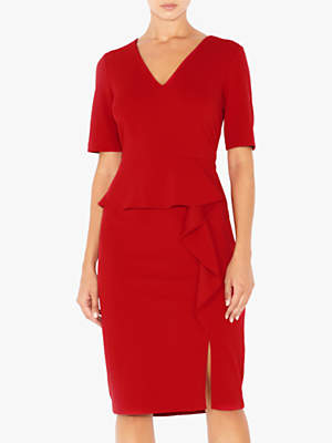 Crepe Waterfall Knit Dress, Red